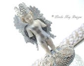 Frozen Charlotte Guardian Angel Ring Jewelry Box Sculpture Original Mixed Media Assemblage Doll Lorelie Kay Orginal