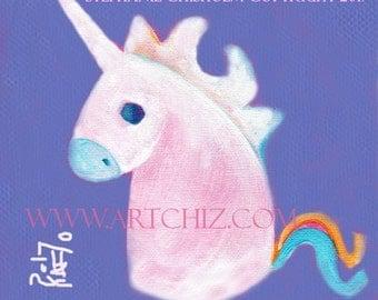 Lavender Unicorn Art. Illustration. Kids Art Print. Lavender. Purple. Baby Shower Gift.  Children's illustration - Lavender Rainbow Baby