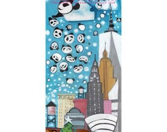 NY Panda Snow Showers. Panda Illustration. Art Print. Pandas throwing Panda snow over NYC. Cute Pandas. Baby Panda. NYC Icons