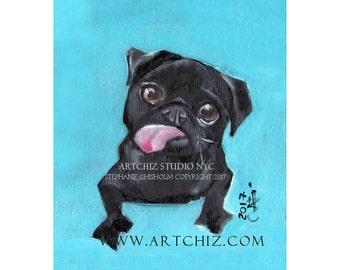 Black PuG Art. 8 x 10 Matted Print. Funny Black Pug Illustration. Seafoam. Pug Portrait. Pugnation. Black Pug Puppy.  - Funny Face -