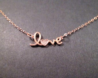 LOVE Word Necklace, Cubic Zirconia and Rose Gold Pendant Necklace, FREE Shipping U.S.