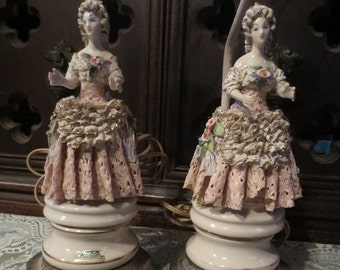 SALE Vintage Pair Cordey Table Lamps Victorian Renaissance Woman