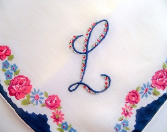 Vintage Monogram L Handkerchief  - Pink and Blue Petit Point Surrounded by Flowers