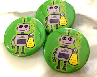 Happy Robot Pin Back Button