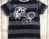 Skull Balloons Black Grey stripe tshirt Love Rocky The Zombie Punk metal goth Rocker Kids