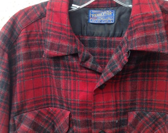 Vintage 60s mens red and black Pendelton wool plaid button down shirt - retro - rockabilly