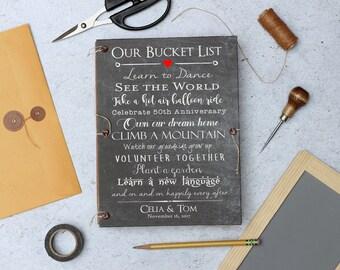 Custom Bucket List Journal, Bucket List Wedding, Challkboard Wedding Guest Book, Anniversary Gift, Scrapbook with pockets and envelopes