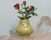 Dollhouse Miniature Arts and Crafts Matte Vase with Leaf Design in High Relief with Red Roses in 1:12 Dollhouse Scale