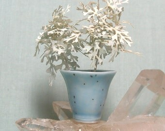 Miniature Porcelain Bucket Vase with Dusty Miller Fern in 1:12 Scale for Dolls House