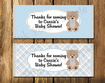 Printable Blue Teddy Bear Boy Baby Shower Large Candy Bar Wrappers