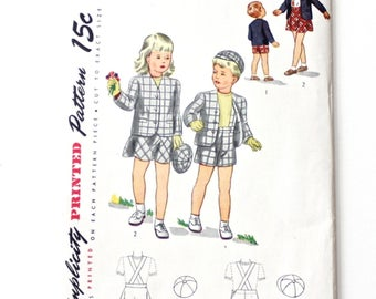 Vintage 1940's Spring Brother and Sister Suit Sewing Pattern Simplicity 1201 Size 3 Uncut