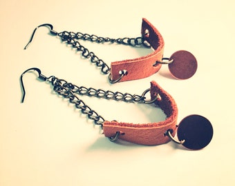 Leather and mixed metal earrings, country western jewelry, dangle earrings