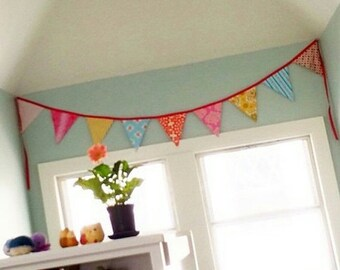 FLASH SALE 40 Percent Off Carnival Theme Fabric Flag Banner. Nursery, Bedroom, Party or Wedding Bunting.  Yellow, Aqua, Red, Pink Garland Fl