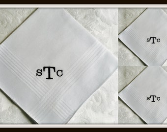 PERSONALIZED EMBROIDERED  Set of 3 (Three) Mens Handkerchiefs with Monogram