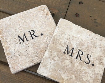 Mr. & Mrs. Natural Stone Coasters. Set of 4.