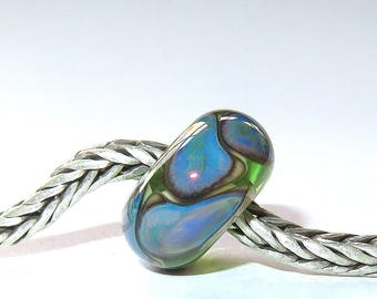 Luccicare Lampwork Bead - Dragon Scales II -  Lined with Sterling Silver