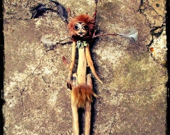 Faery Driftwood Wildling Doll, artist doll, poppet, faery witch, forest, witchy doll