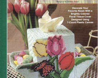Tulip Tissue Cover  ~  plastic canvas leaflet