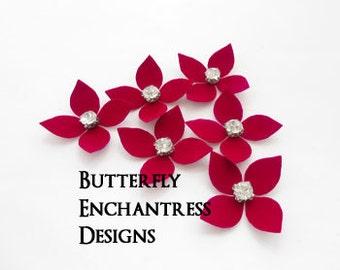 Bridal Hair Flowers, Valentine Wedding Hair Accessories, Bridesmaid Favor Gift - 6 Red Isabelle Hydrangea Hair Pins - Rhinestone Center