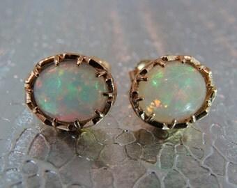 opal studs 14kt filigree earrings