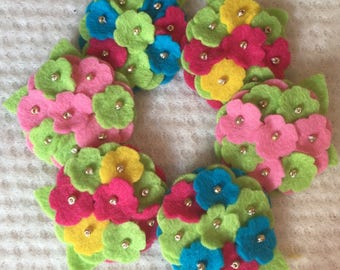 Burst of Color Wool Felt Mini Hydrangeas