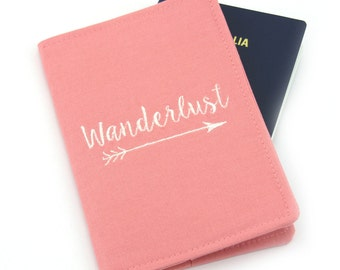 Wanderlust Quote Embroidered Passport Cover, Passport Holder, Passport Wallet, Passport Case, Travel Gift