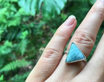 Larimar floral band triangle ring // size 5.5 // one of a kind // made in byron bay // recycled sterling silver