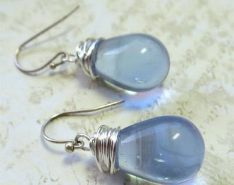 Earrings simple czech glass lilac beads with silver wire wrapping