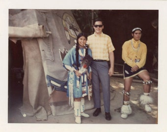Vintage photo 1968 American indian Tee Hock Nye Indian Princess Disneyland Tourist