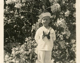 vintage photo 1938 Young American Boy Dressed in Sailor Outfit Rhododendron Garden