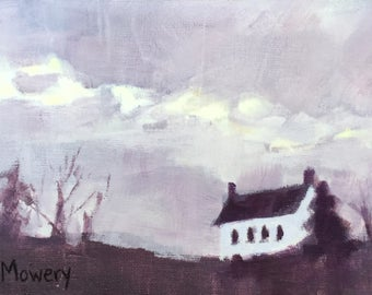 Storm Last Night - 5x7 inches original acrylic painting of a farmhouse on a purple cloudy morning by Maryland landscape painter Barb Mowery