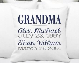 Personalized Grandkids Pillow, Grandma Pillow, Grandpa Pillow, Grandkids Gift, Nana - Navy and Gray