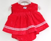 Vintage Red Velvet Baby Dress / Red Baby Outfit / Size Newborn