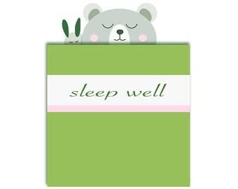 Sleeping  Bear in bed  Clipart Single, commercial use,   green,  Sleep Well / Digital Clipart , bear clipart, bear with bunnie, bedroom art