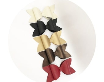 Faux Leather Bow Headband or Barrettes
