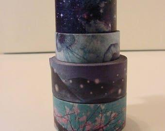 Washi Tape 4 rolls decorative masking 20mm, 15mm #11 scrapbook journal deco supply destash Dark color theme