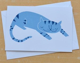 Blue Stripe Cat Screenprinted Card