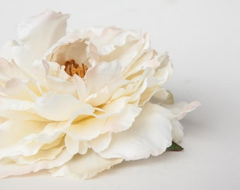 Large Peony in Cream with Blush Accents - 6 Inches -Artificial Flower, Millinery Flower - ITEM 01080