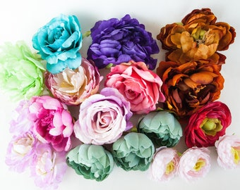GRAB BAG #5 - 19 Medium to Large Flowers in Mixed Colors - Silk Artificial Flowers