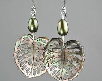 Mother of Pearl Calla Lily Leaves with Green Fresh Water Pearls Dangle Earrings
