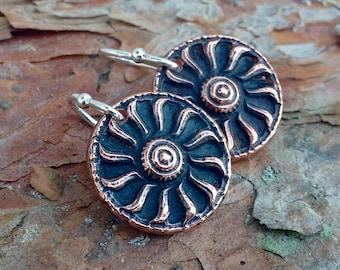 Copper Sun Earrings, Copper Suns on Sterling Silver ear wires, Rustic Sun Jewelry, Sun Motif Earrings, Summer Jewelry