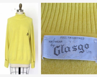 1970s Yellow Pullover Sweater Long Oversized  Turtleneck Orlon Knit Sweater Sz