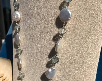 Lustrous and Slightly Baroque Coin Pearls with Faceted Mystic Green Quartz in Sterling Silver (NK059)