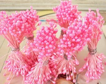 Sale / Vintage / Double-Ended Stamen Pips-Peps / Set of Six / Pearlized Bubblegum Pink / Millinery Supplies / Flower Centers
