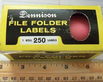 Vintage Dennison / File Folder Labels / Cherry / No.  36-474