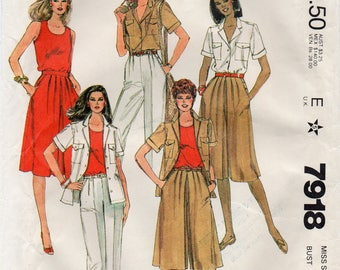 McCall's 7918 Misses Shirt,Top,Pants And Culottes Uncut Pattern Size 16 Bust 38 Copyright 1982