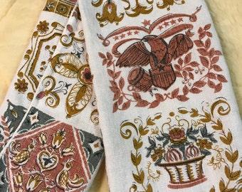 Vintage Linen Tea Towel with Americana Print, Neutral Colors , Toile Print Fanric, American Eagle