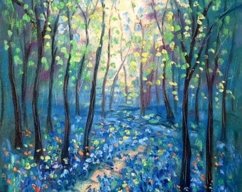 Merry Christmas Sale 15% Oil painting  Abstract  18 x 24  Blue Bell Path - FREE SHIPPING in US