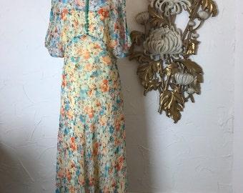 Fall sale 1930s dress sheer dress maxi dress size medium silk dress vintage dress 1930s gown yellow floral