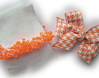 Kathy's Beaded Socks - Orange Glitter Houndstooth Socks and Hairbow, school socks, orange socks, houndstooth socks, glitter socks